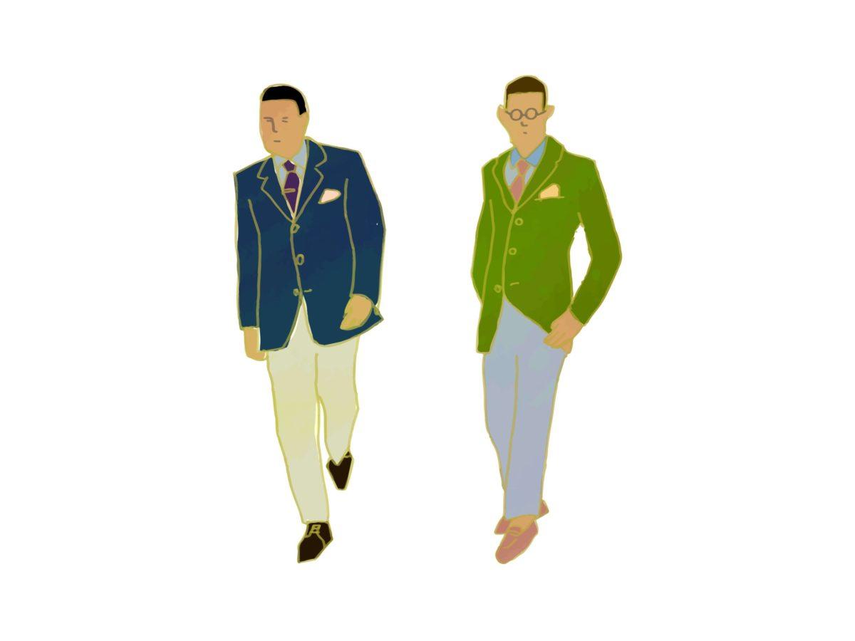 男性二人のファッションコーディネート