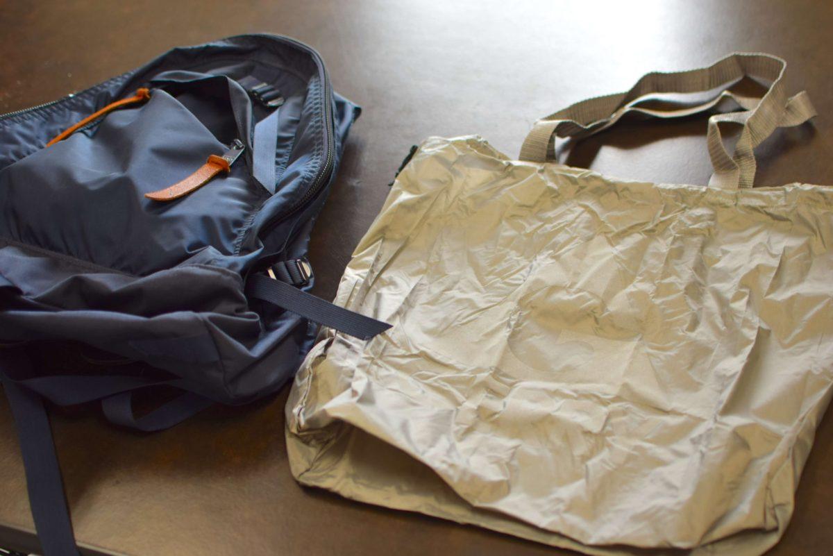 グレゴリーのバッグとエコバッグのサイズを比較