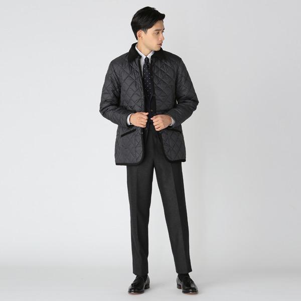 スーツスタイルとキルティングジャケット