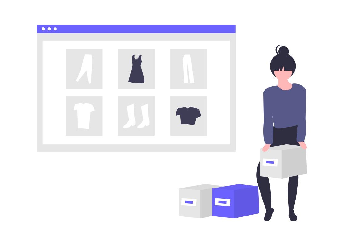 オンラインショッピングのイラスト